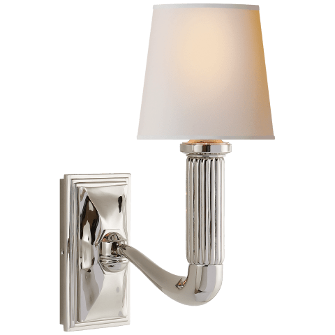 Gallois Sconce in Polished Nickel with Natural Paper Shade