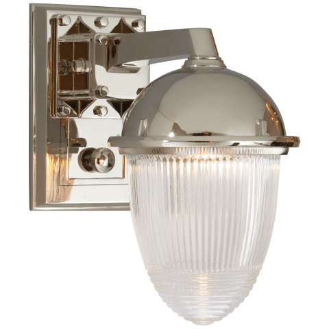 Garey Wall Light in Polished Nickel with Industrial Prismatic Glass