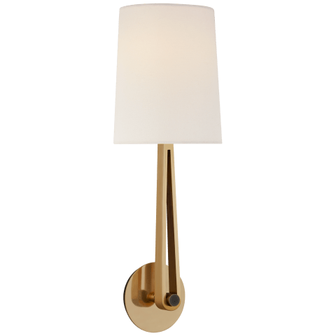 Alpha Large Convertible Sconce in Hand-Rubbed Antique Brass and Bronze with Linen Shade