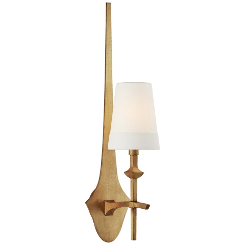 Pippa Medium Sconce in Gild with Linen Shade