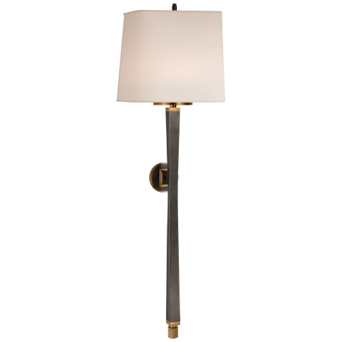 Edie Baluster Sconce in Bronze and Hand-Rubbed Antique Brass with Natural Paper Shade