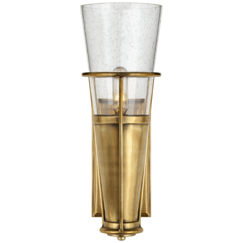 Robinson Single Sconce in Hand-Rubbed Antique Brass with Seeded Glass