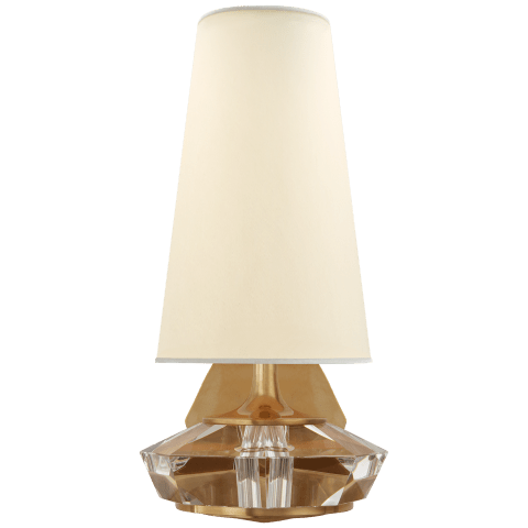 Santo Small Faceted Sconce in Hand-Rubbed Antique Brass and Crystal with Natural Percale Shade