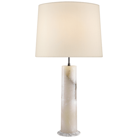 London Column Table Lamp in Alabaster with Linen Shade