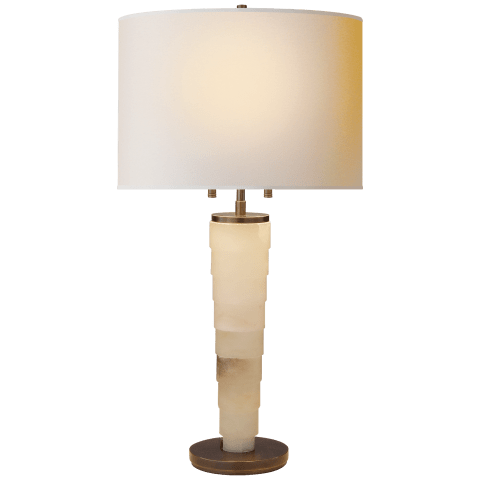 Stanford Large Table Lamp in Alabaster with Natural Paper Shade