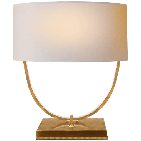 Kenton Desk Lamp in Hand-Rubbed Antique Brass with Natural Paper Shade