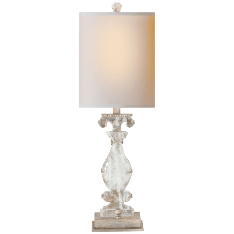 Silhouette Vase Accent Lamp in Burnished Silver Leaf and Quartz with Natural Paper Shade