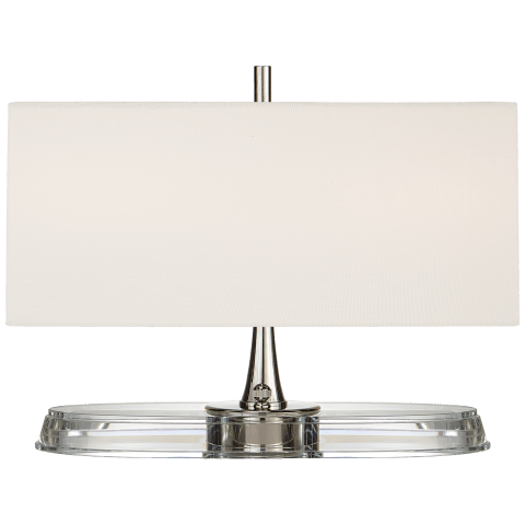Casper Small Desk Lamp in Polished Nickel and Crystal with Linen Shade