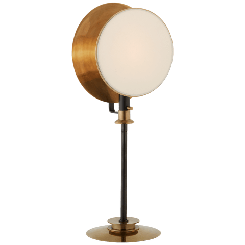 Osiris Reflector Adjustable Table Light in Bronze and Hand-Rubbed Antique Brass with Linen Diffuser