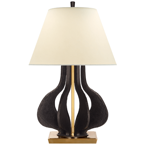 Mateo Large Table Lamp in Aged Iron and Hand-Rubbed Antique Brass with Natural Percale Shade