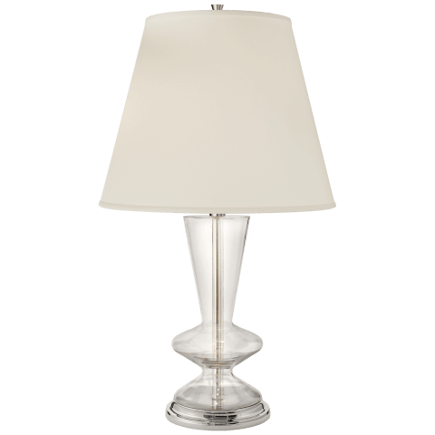 Arpel Table Lamp in Polished Nickel and Clear Glass with Natural Percale Shade