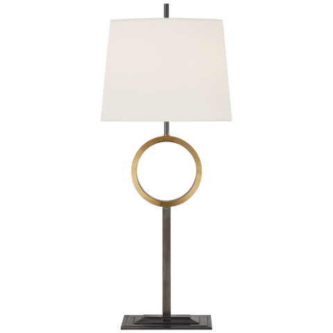 Simone Medium Buffet Lamp in Bronze and Hand-Rubbed Antique Brass with Linen Shade