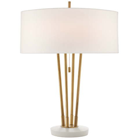 Stefano Medium Table Lamp in Hand-Rubbed Antique Brass and White Marble with Linen Shade