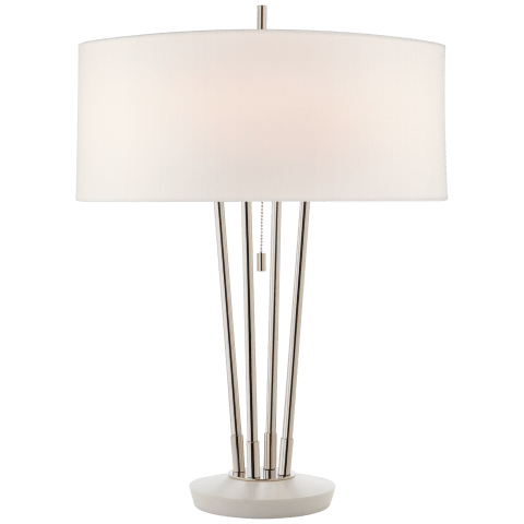Stefano Medium Table Lamp in Polished Nickel and White Marble with Linen Shade