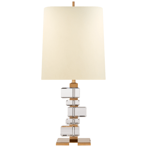 Moreau Large Table Lamp in Hand-Rubbed Antique Brass and Crystal with Natural Percale Shade