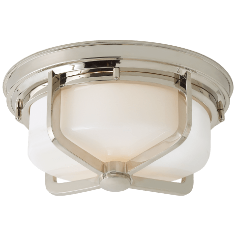 Milton Large Flush Mount in Hand-Rubbed Antique Brass with White Glass