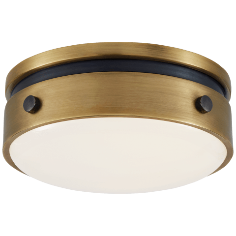 "Hicks 5.5"" Solitaire Flush Mount in Bronze and Hand-Rubbed Antique Brass with White Glass"