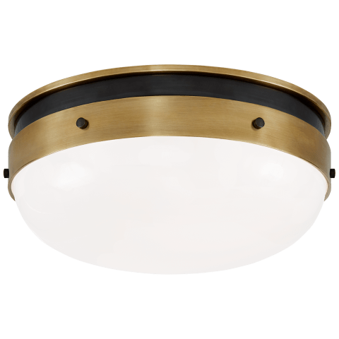 Hicks Small Flush Mount in Bronze and Hand-Rubbed Antique Brass with White Glass