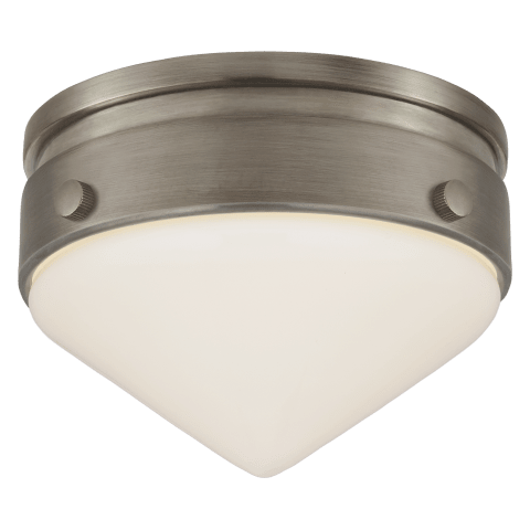 Gale Petite Flush Mount in Antique Nickel with White Glass