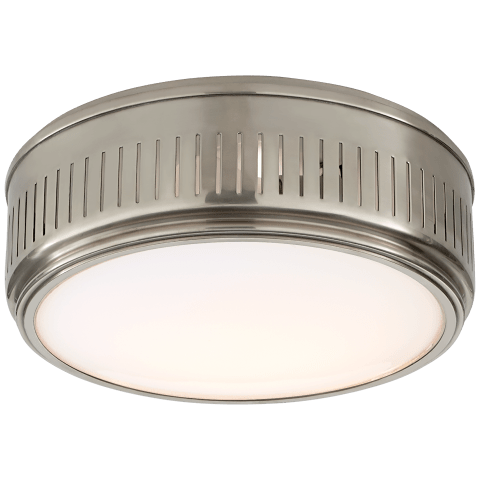 Eden Large Flush Mount in Antique Nickel with White Glass