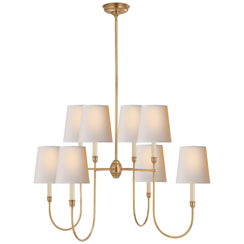 Vendome Large Chandelier in Bronze with Natural Paper Shades