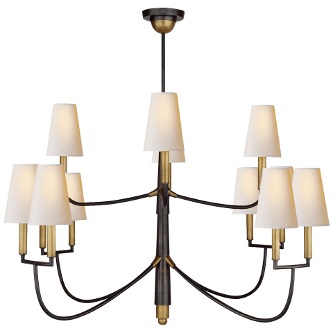 Farlane Large Chandelier in Bronze with Hand-Rubbed Antique Brass and Natural Paper Shades