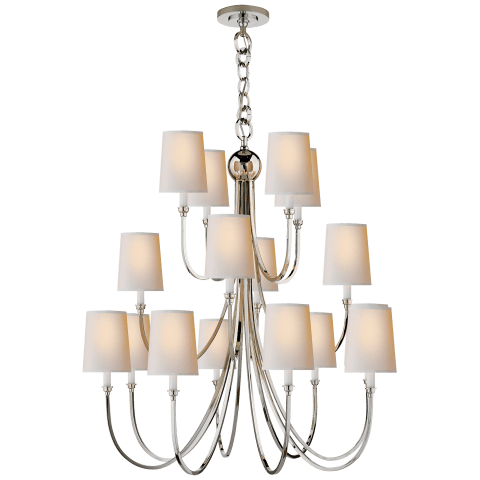 Reed Extra Large Chandelier in Polished Nickel with Natural Paper Shades