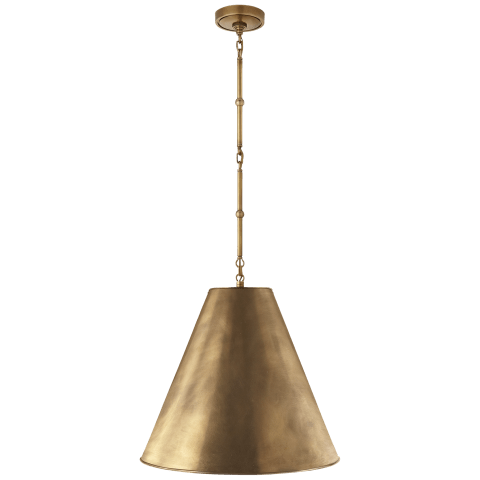Goodman Medium Hanging Light in Hand-Rubbed Antique Brass with Hand-Rubbed Antique Brass Shade