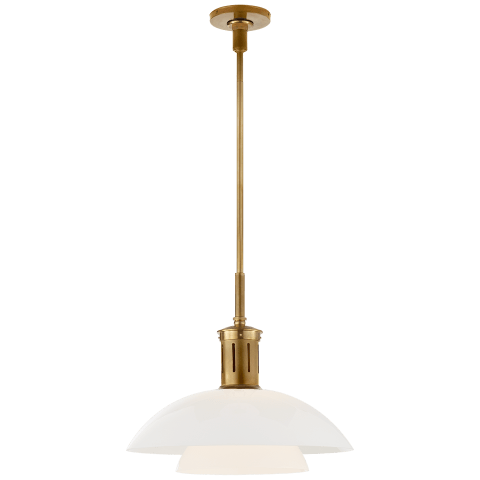Whitman Medium Pendant in Hand-Rubbed Antique Brass with White Glass Shade