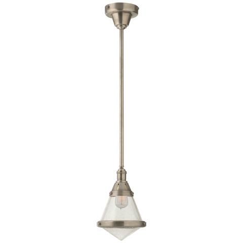 Gale Petite Pendant Light in Antique Nickel with Seeded Glass