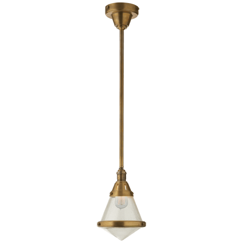 Gale Petite Pendant Light in Hand-Rubbed Antique Brass with Seeded Glass