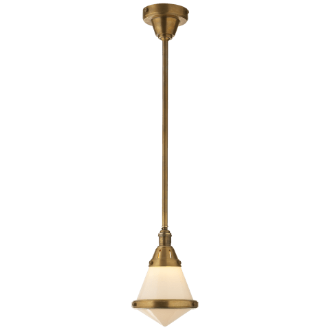 Gale Petite Pendant Light in Hand-Rubbed Antique Brass with White Glass