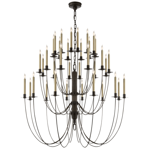 Erika Three-Tier Chandelier in Aged Iron