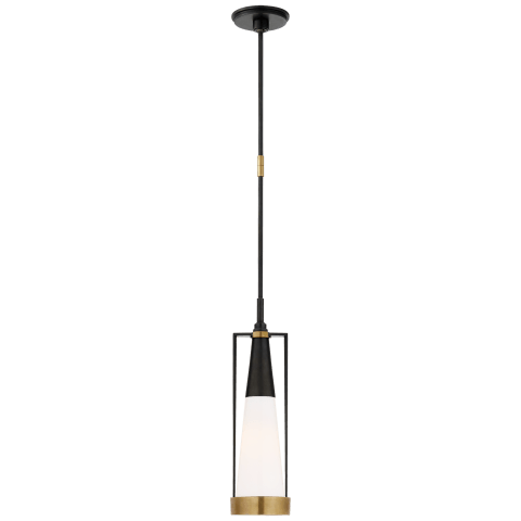 Calix Small Pendant in Bronze and Brass with White Glass