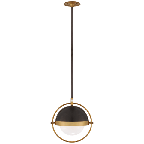 Decca Medium Orbital Pendant in Bronze and Hand-Rubbed Antique Brass with White Glass