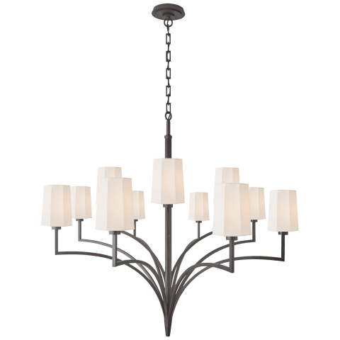 Pietro Grande Two Tier Chandelier in Aged Iron with Linen Shades