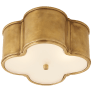 Basil Small Flush Mount in Natural Brass with Frosted Glass