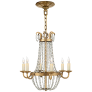 Petite Paris Flea Market Chandelier in Gilded Iron and Seeded Glass