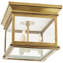 Club Small Square Flush Mount in Antique-Burnished Brass with Clear Glass