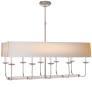 Linear Branched Chandelier in Polished Nickel with Natural Paper Rectangle Shade