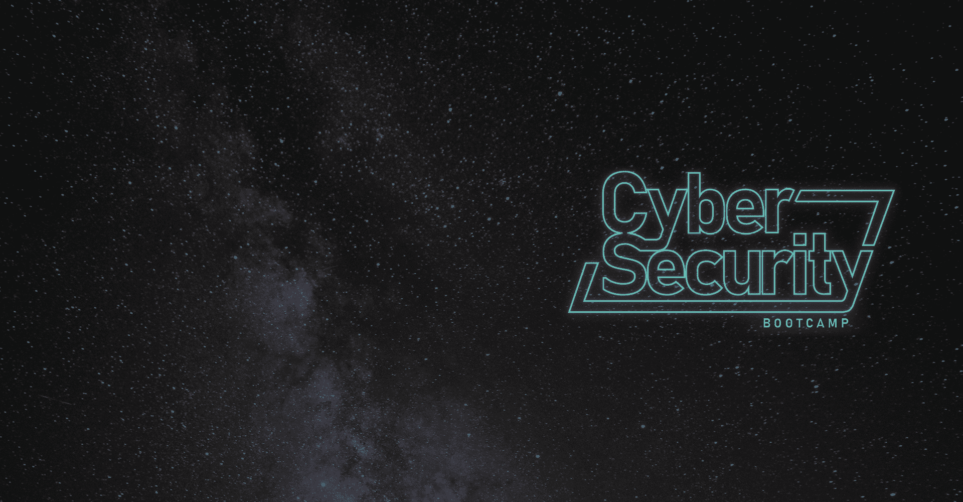 Cyber Security Bootcamp on starry background
