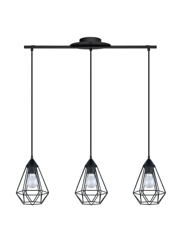 EGLO Vintage Tarbes - Hanglamp - Draadlamp - 3 Lichts - Lengte 790mm. - Zwart