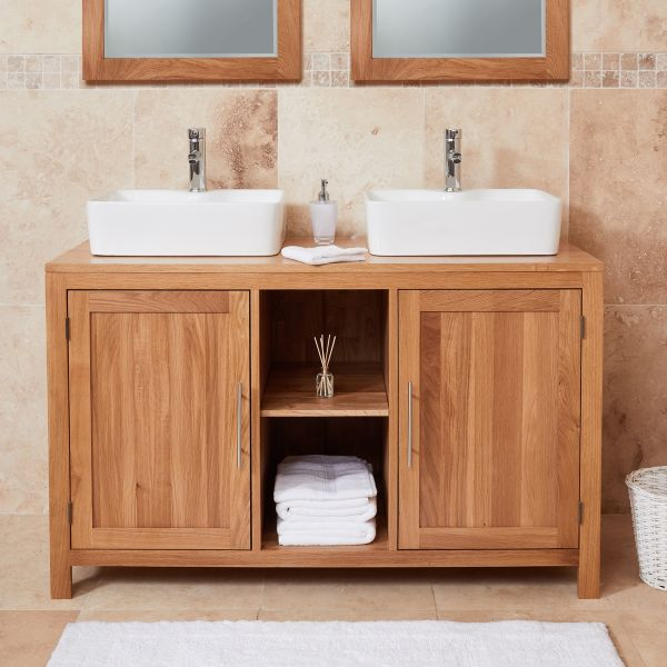Mobel Oak Dual Square Sink Bathroom Unit