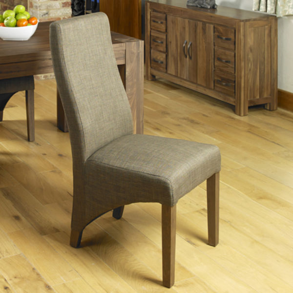 Two flare back hazelnut dining chairs