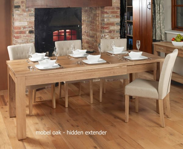 Mobel Oak Hidden Extending Dining Table
