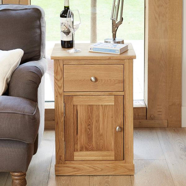 mobel oak single door and drawer lamp table