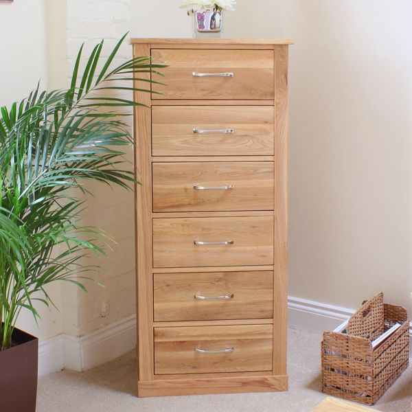 Mobel Oak Tallboy (6 Drawer)