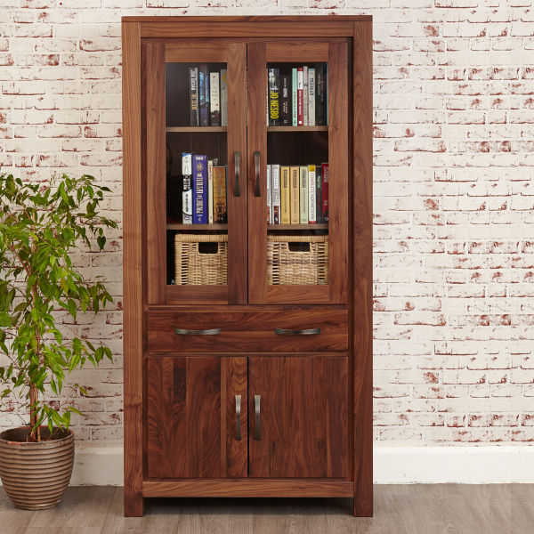 Mayan Walnut Large Glazed Display Cabinet