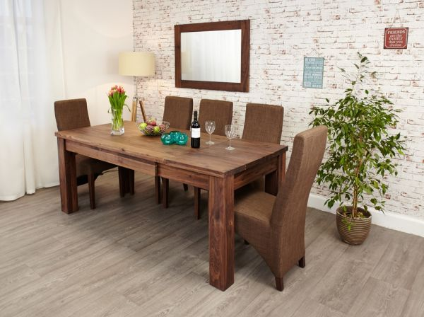 Walnut Extending Table + Six Hazelnut Chairs