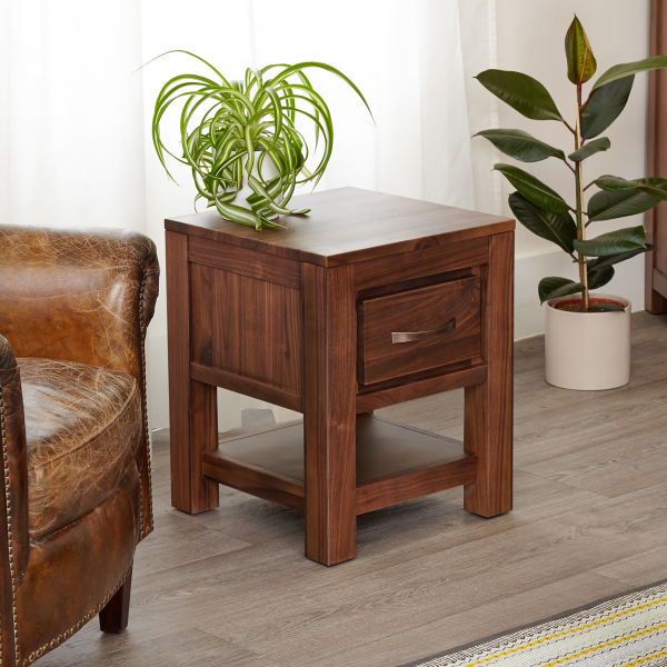Mayan Walnut One Drawer Lamp Table